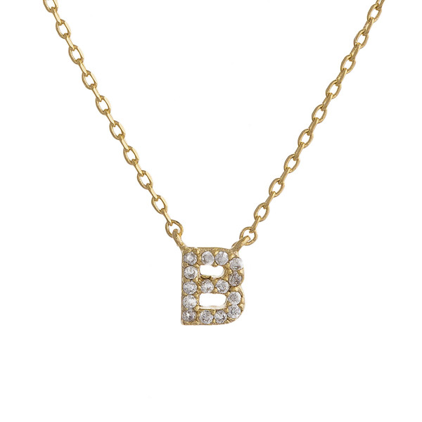 """Gold dipped necklace with initial """"B"""" pendant. Approximate 20"""" in length with 0.5"""" pendant. Letter """"B"""""""