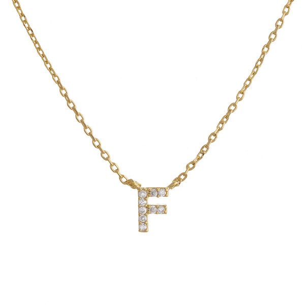 """Gold dipped necklace with initial """"F"""" pendant. Approximate 20"""" in length with 0.5"""" pendant."""