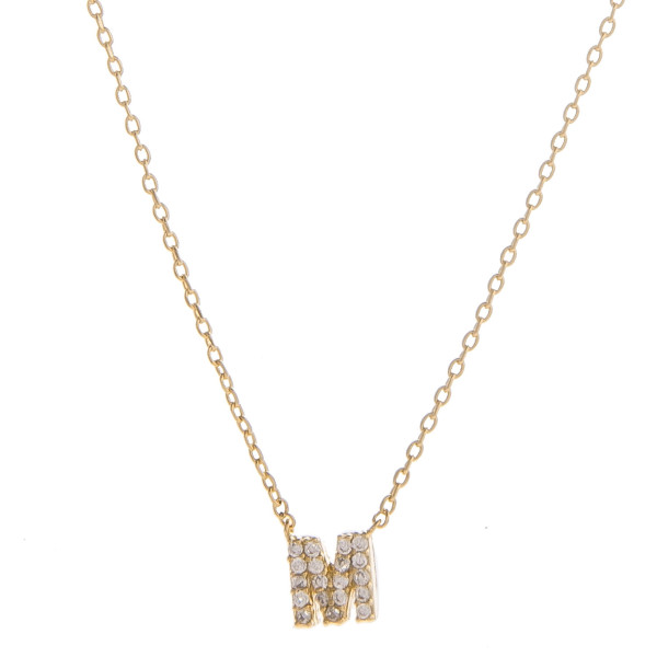 """Gold dipped necklace with initial """"M"""" pendant. Approximate 20"""" in length with 0.5"""" pendant."""
