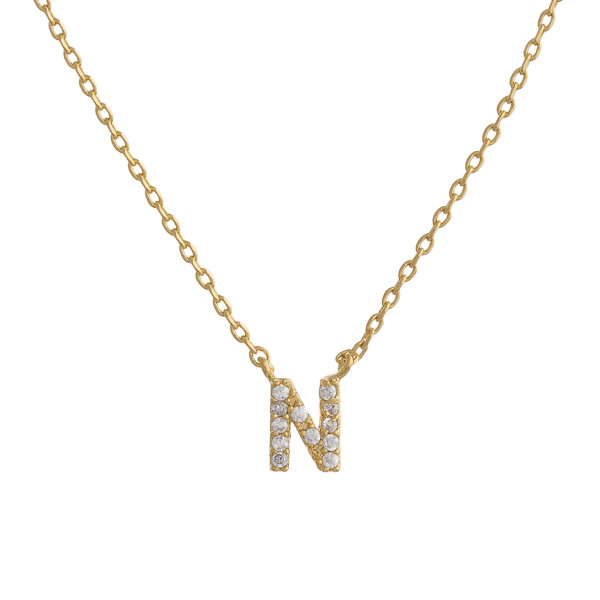 """Gold dipped necklace with initial """"N"""" pendant. Approximate 20"""" in length with 0.5"""" pendant."""