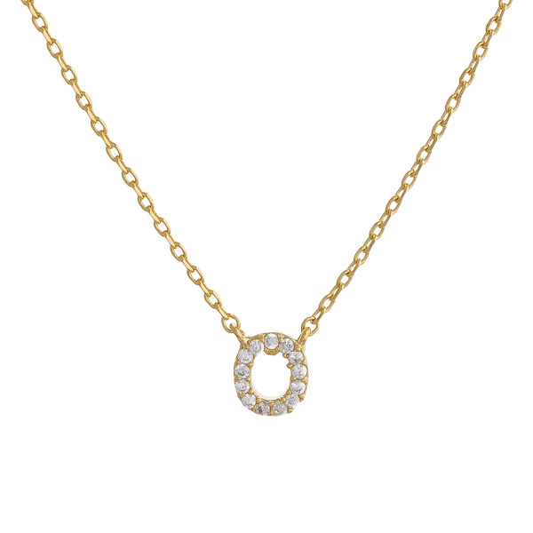 """Gold dipped necklace with initial """"O"""" pendant. Approximate 20"""" in length with 0.5"""" pendant."""