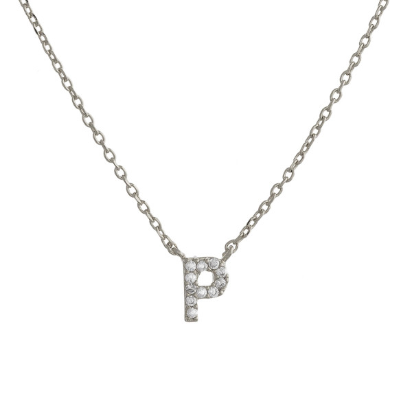 """Gold dipped necklace with initial """"P"""" pendant. Approximate 20"""" in length with 0.5"""" pendant."""