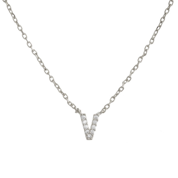 """Gold dipped necklace with initial """"V"""" pendant. Approximate 20"""" in length with 0.5"""" pendant."""