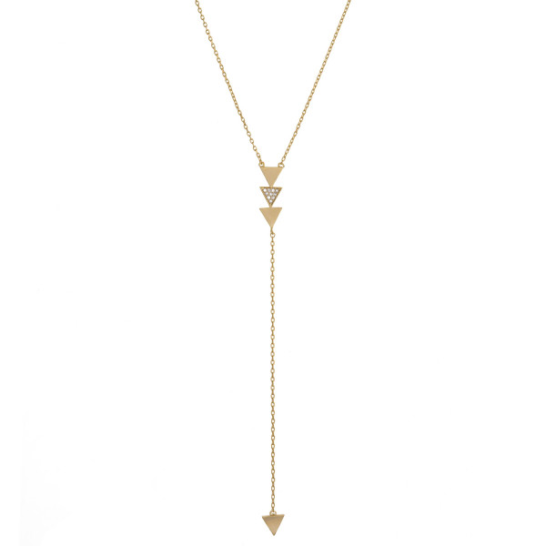 """Long y-shaped boho style necklace with arrows and rhinestones. Approximate 22"""" in length."""