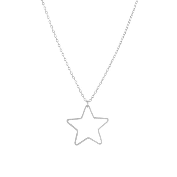 """Long metal necklace with star pendant. Approximate 16"""" in length."""