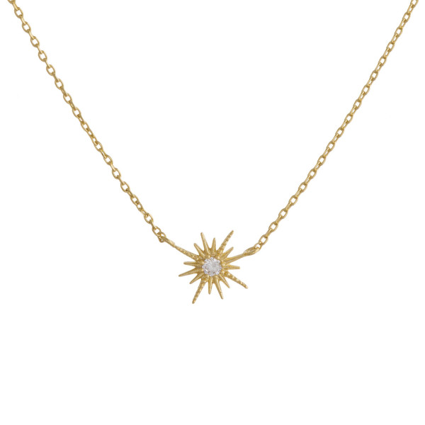 """You will not go wrong with this fabulous gold dipped chocker/collar necklace with star like pendant with rhinestones. Very gorgeous and light weight. Approximate 16"""" in length. .5"""" pendant."""