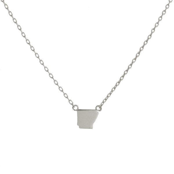 """Gold dipped necklace with Arkansas state pendant. Approximate 15"""" with 0.5"""" pendant."""