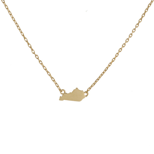 "Gold dipped necklace with Kentucky state pendant. Approximate 15"" with 0.5"" pendant"