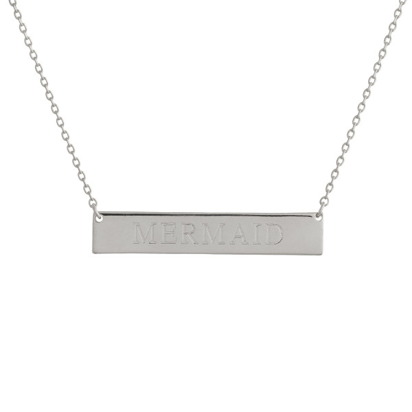 """These bar necklaces are prefect with any outfit. Gorgeous dipped in gold necklace with bar  and """"Mermaid""""  engraved message. Very gorgeous and light weight. Approximate 16"""" in length. .1"""" pendant."""