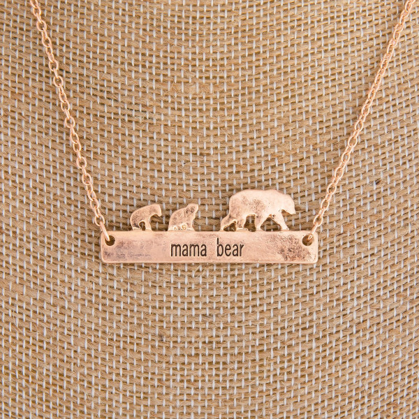 """Long metal necklace with bear bar pendant. Approximate 16"""" in length."""