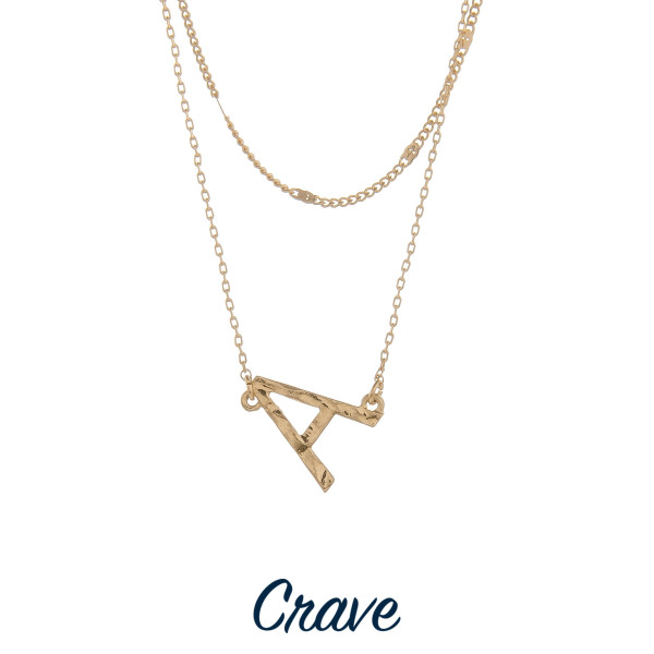 """Gorgeous short layered initial necklace with letter A pendant. Approximate 16"""" in length."""