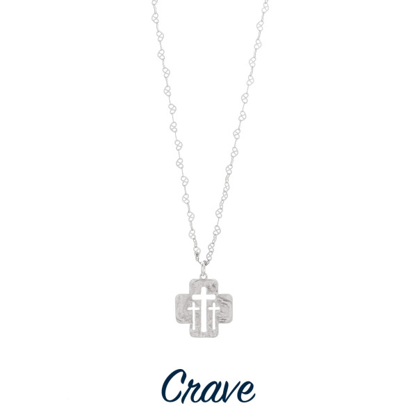 "Gorgeous short necklace with cut out triple cross pendant. Approximate 18"" in length with 1.0"" pendant."