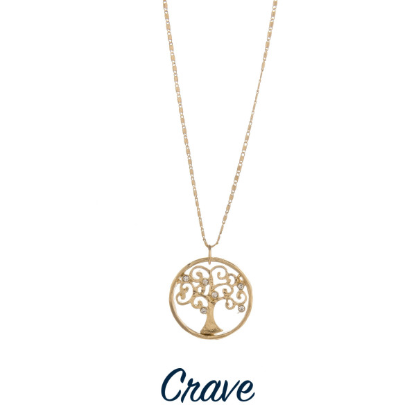 "Gorgeous short necklace with tree of life pendant.  Approximate 18"" in length with 1.0"" pendant."