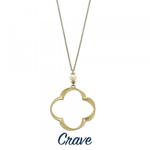 "Long hammered heart quatrefoil / clover necklace with faux pearl detail. Chain is approximately 30"" long. Pendant is approximately 1.75"" tall."
