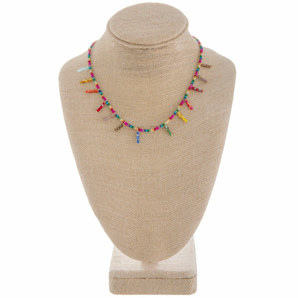 """Short beaded necklace with beaded spikes. Approximate 14"""" in length."""