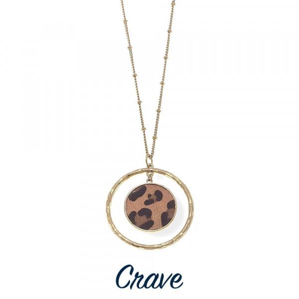 Wholesale long gold necklace ring leopard print center pendant long
