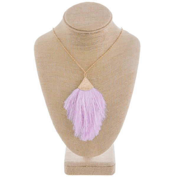 Wholesale long gold metal necklace lavender tassel pendant Pendant overall