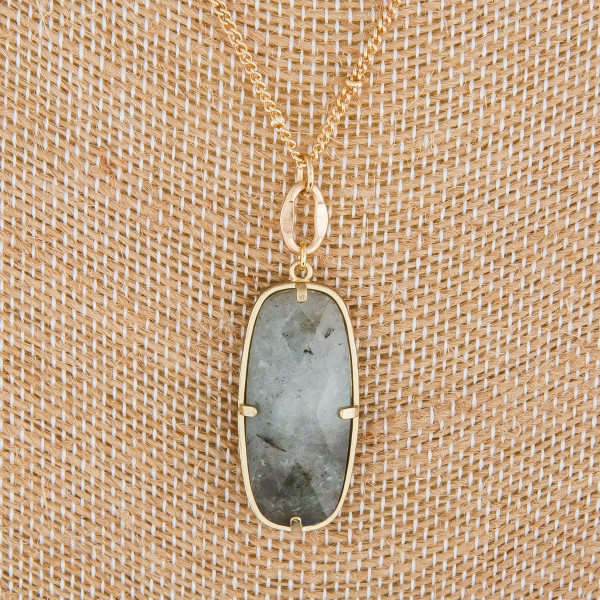 "Long metal gorgeous necklace with natural stone pendant. Approximate 20"" in length. with 1"" pendant."