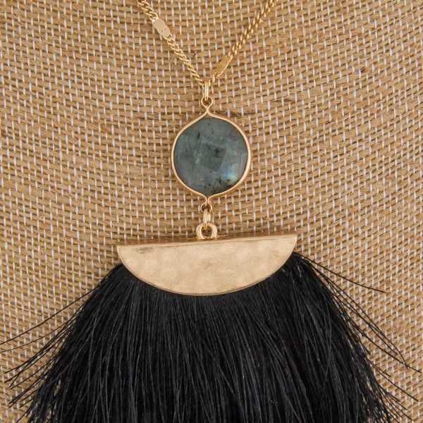 """Long metal gorgeous necklace with fanned tassel pendant with natural stone detail. Approximate 40"""" in length. with 3.5"""" pendant."""