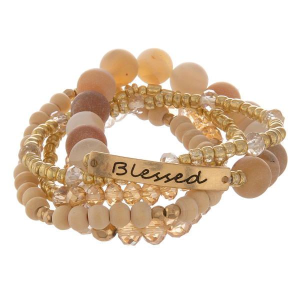 """Natural stone layered bracelet with some beads. Approximate 6"""" in length"""