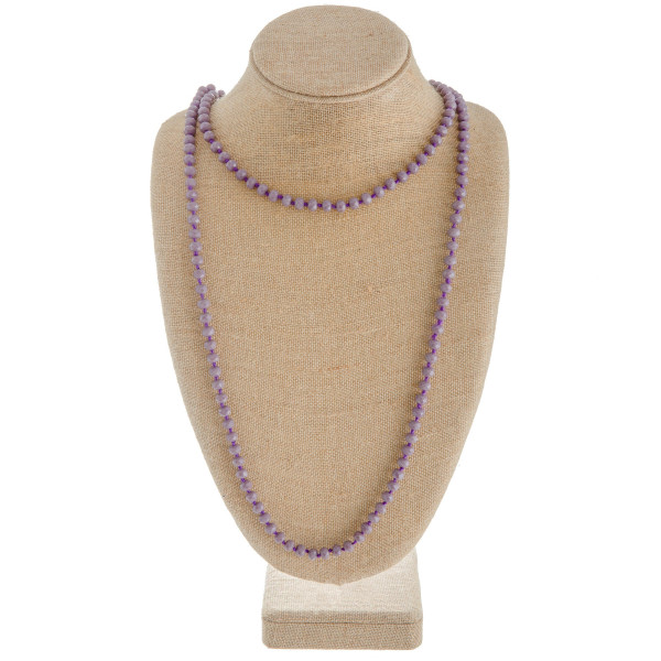 """Long necklace with faceted beads. Approximately 60"""" in length."""
