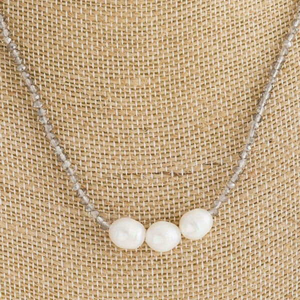 """Long beaded necklace with pearls. Approximate 14"""" in length."""