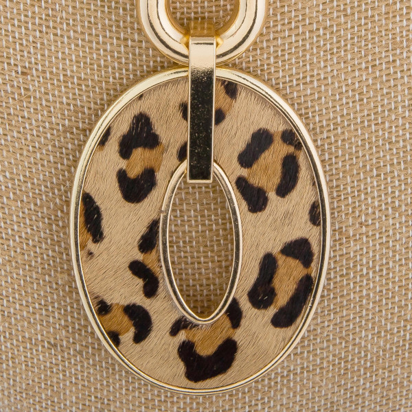 """Long chain linked Y necklace with genuine leather pendant. Approximate 34"""" in length."""