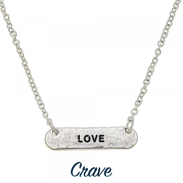 "Long metal necklace with positive message. Approximate 19"" in length with 1"" pendant."