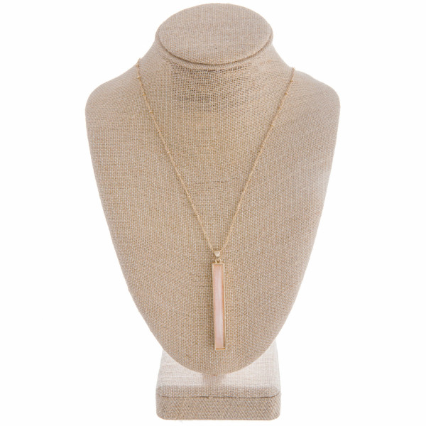 """Metal necklace with bar stone pendant. Approximate 32"""" in length."""