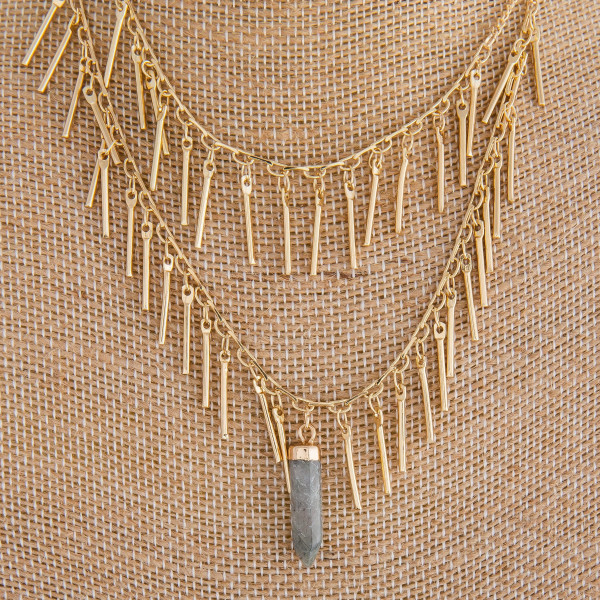 "Long layered necklace with dangles and natural stone pendant. Approximate 26"" in length."