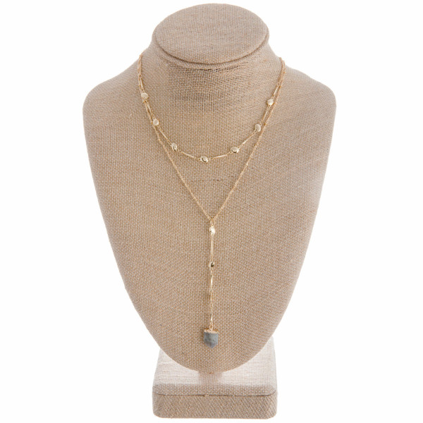 """Long metal Y necklace with natural stone pendant. Approximate 26"""" in length."""