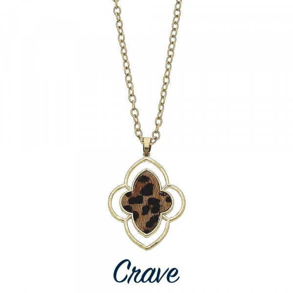 """Long crave metal necklace with animal print pendant. Approximate 36"""" in length."""