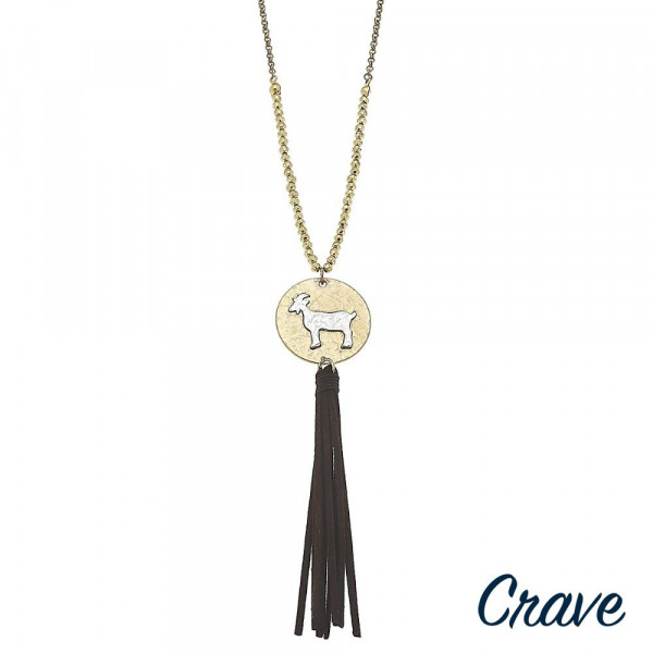 "Long metal necklace with goat pendant and tassel. Approximate 30"" in length.  Don't forget to grab the matching earrings."