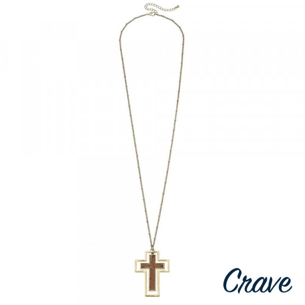 "Long metal necklace with cork cross pendant.. Approximate 32"" in length."
