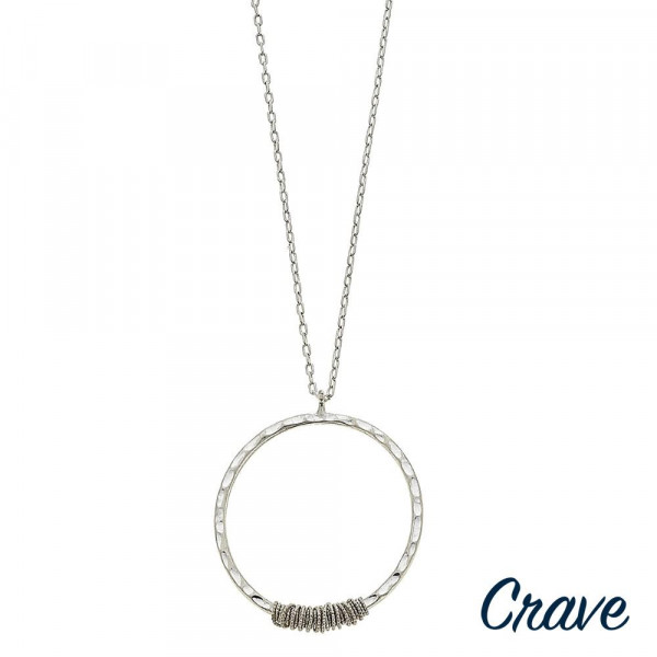 "Long crave metal necklace with hoop pendant. Approximate 30"" in length."