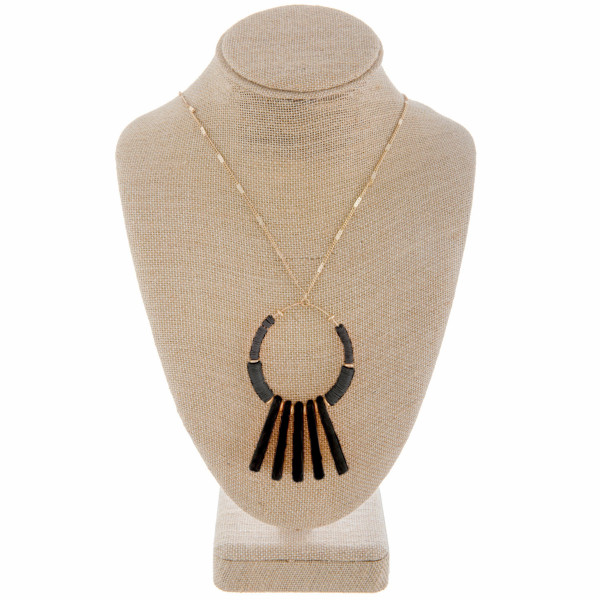 """Long metal necklace with natural stone pendant. Approximate 36"""" in length."""