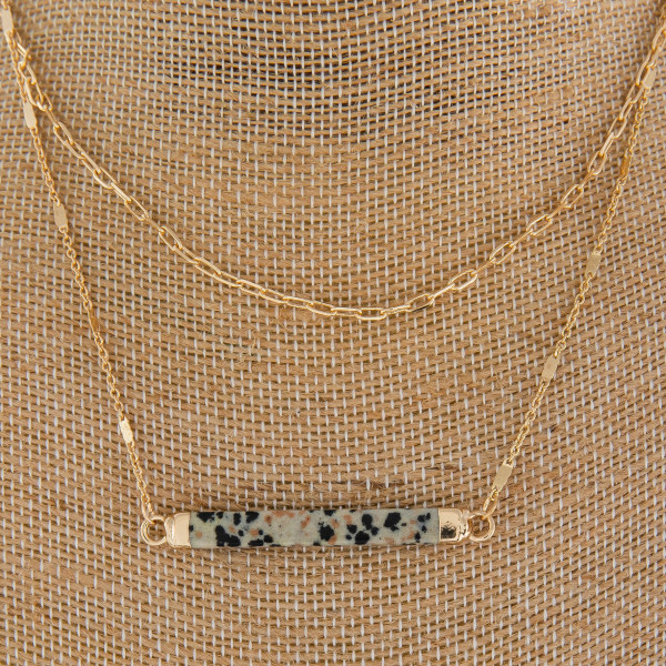 """Long metal necklace with natural stone bar. Approximate 14"""" in length."""