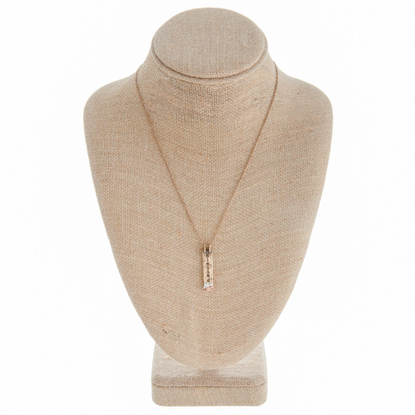 """Long metal necklace with engraved inspirational message """"Blessed"""". Approximate 18"""" in length."""