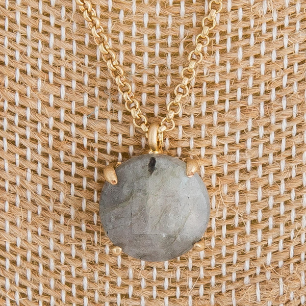 "Long metal necklace with natural stone pendant. Approximate 21"" in length."