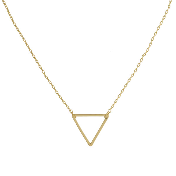 "Short metal necklace with triangle pendant. Approximate 15"" in length."