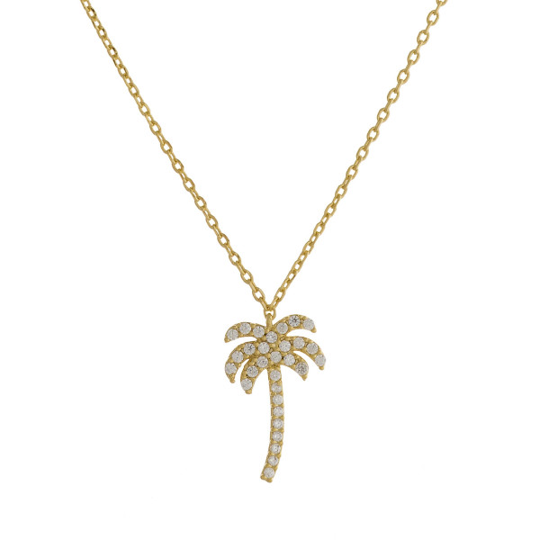 """Long metal dainty necklace with tropical tree pendant with rhinestones. Approximate 18"""" in length."""