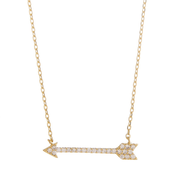 """Long metal dainty necklace with bow and arrow pendant with rhinestones. Approximate 18"""" in length."""