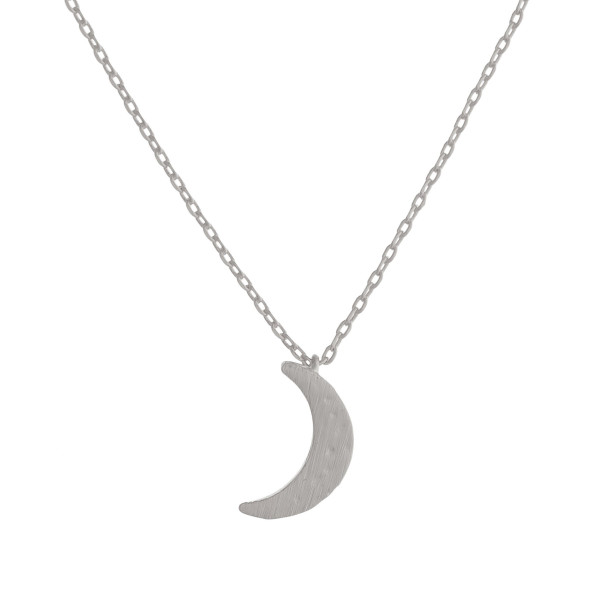 "Long metal dainty necklace with moon pendant. Approximate 17"" in length."