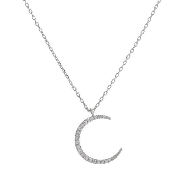 """Long metal necklace with  rhinestone crescent pendant. Approximate 17.5"""" in length."""
