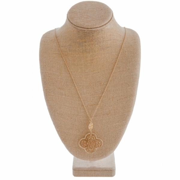 Wholesale long gold chain necklace filagree pendant