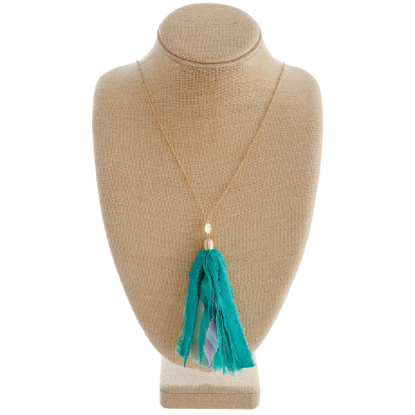 Wholesale long gold chain necklace green fabric tassel Tassel