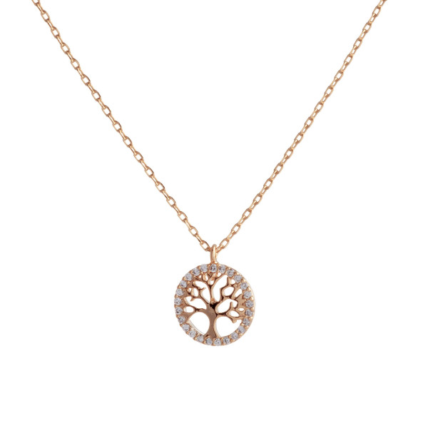 "Dainty rose gold chain necklace featuring a tree of life pendant with cubic zirconia accents. Approximately 18"" in length. Pendant is approximately .5"" in diameter."