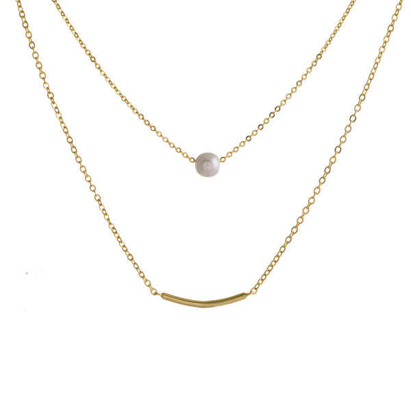 """Dainty metal necklace featuring two layers, a pearl detail and bar accent. Approximately 18"""" in length."""