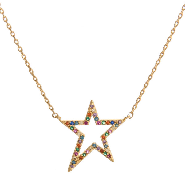 "Dainty cable chain necklace featuring a star pendant with multicolor cubic zirconia details. Pendant approximately .75"". Approximately 16"" in length."