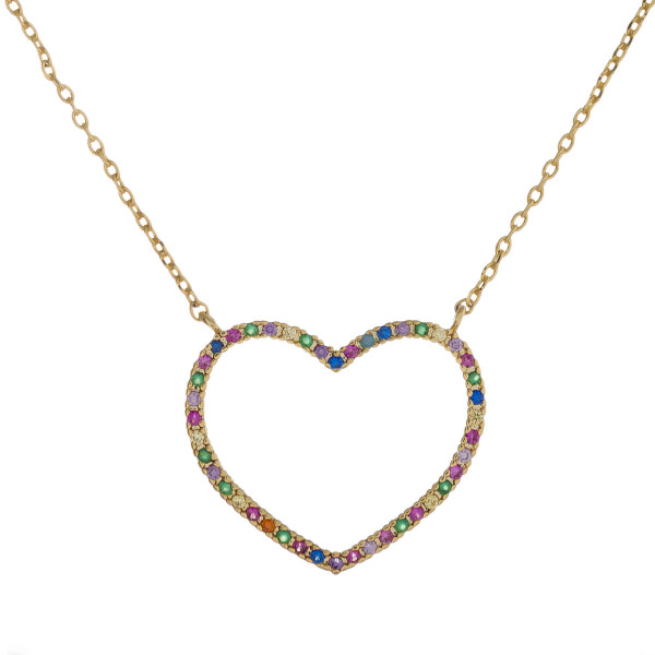"""Dainty metal necklace featuring a heart pendant with multicolor cubic zirconia details. Pendant approximately 1"""". Approximately 18"""" in length overall."""